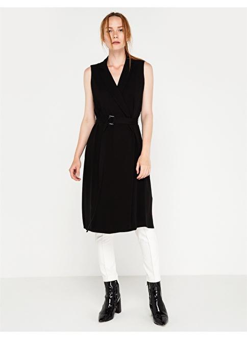 Rue Çapraz Bant Detaylı Kruvaze Elbise Siyah